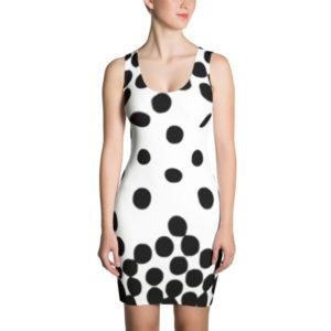 Polka Dot Cascade Dress (Black/White)