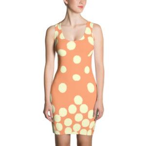 Polka Dot Cascade Dress (Peach/Cream)