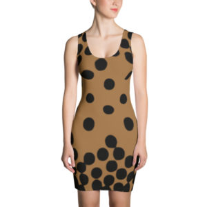 Polka Dot Cascade Dress (Black/Brown)